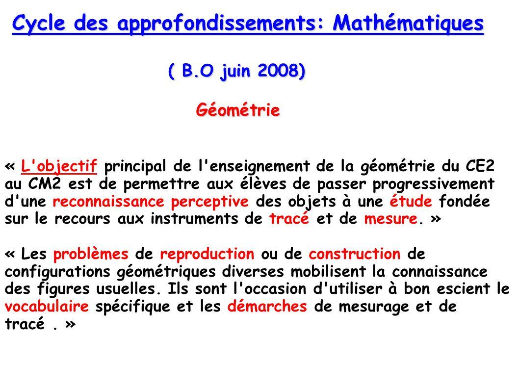 ( B.O juin 2008) Cycle des approfondissements: Mathématiques Géométrie