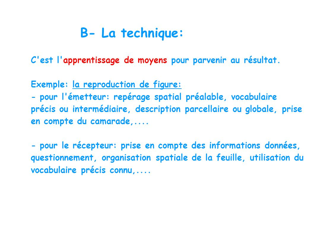 B- La technique: C est l apprentissage de moyens pour parvenir au résultat. Exemple: la reproduction de figure: