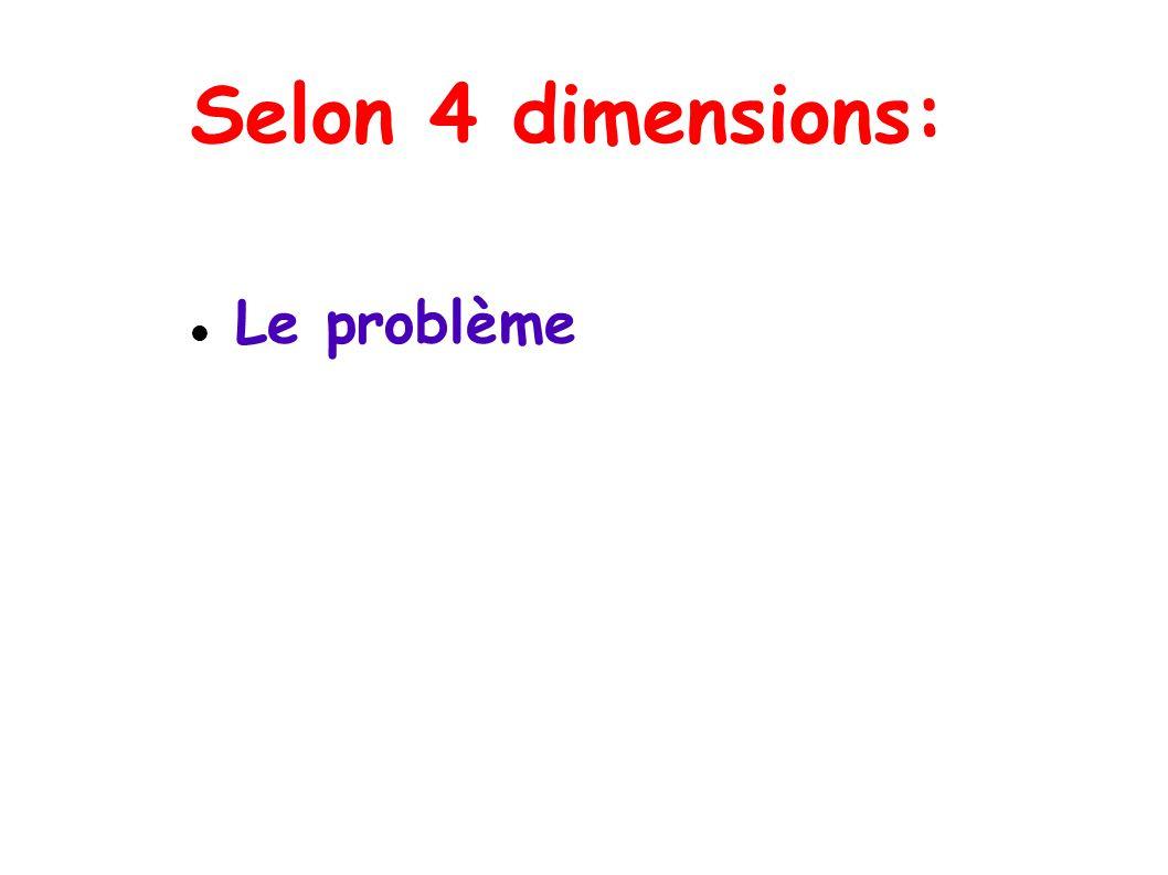Selon 4 dimensions: Le problème