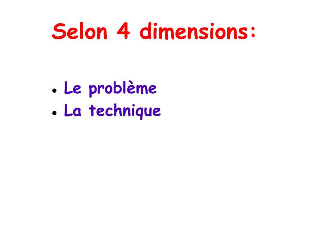Selon 4 dimensions: Le problème La technique