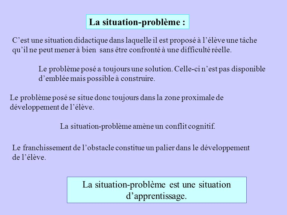 La situation-problème est une situation d'apprentissage.