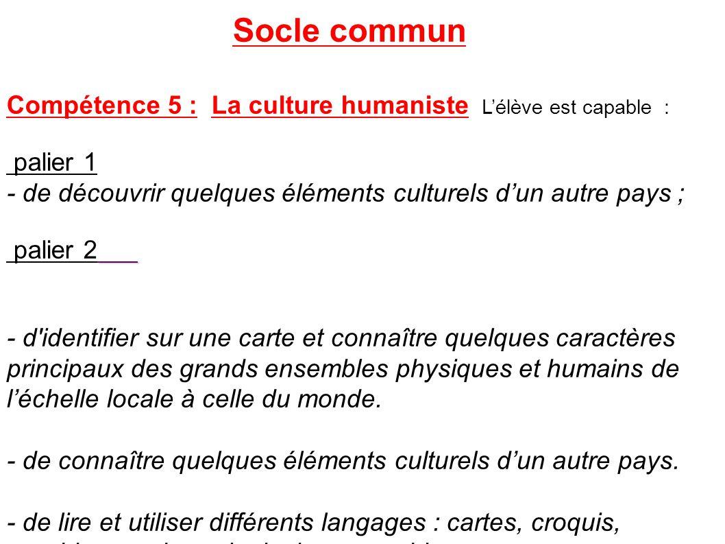 Socle commun Compétence 5 : La culture humaniste L'élève est capable :