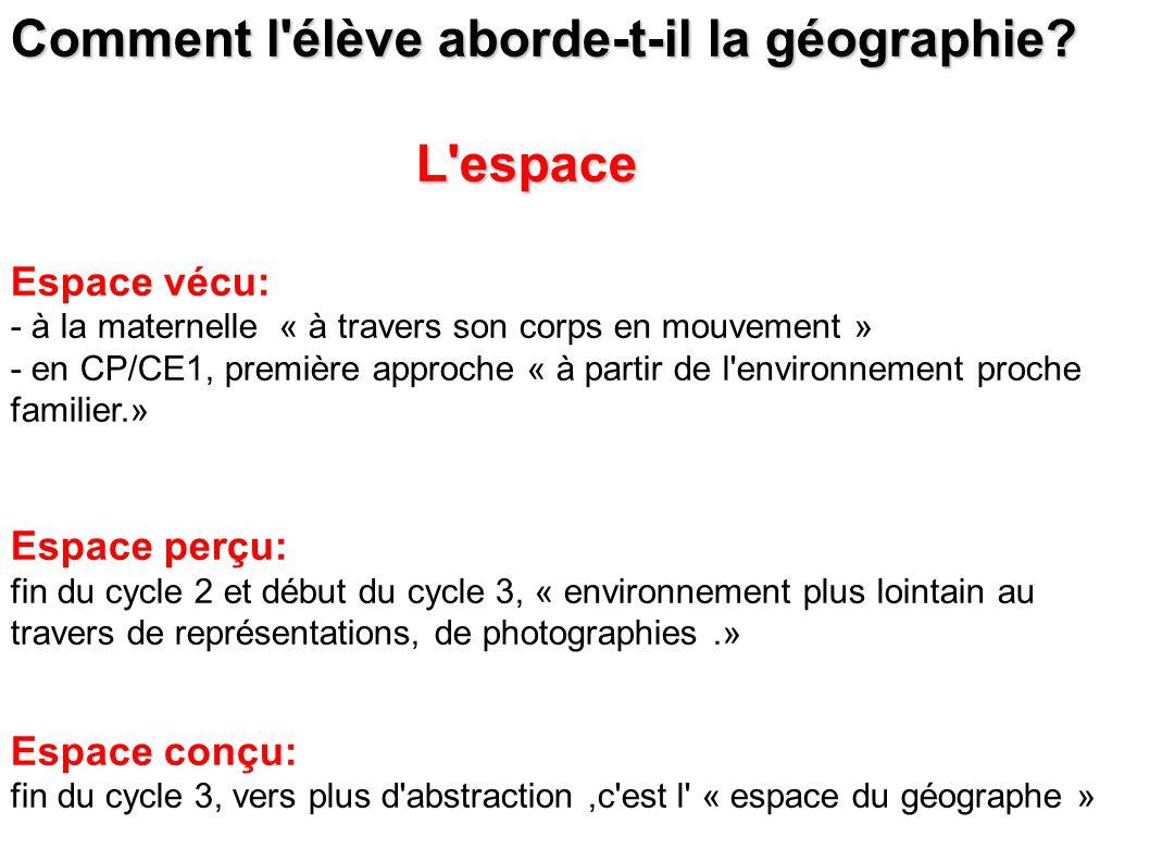 Comment l élève aborde-t-il la géographie L espace