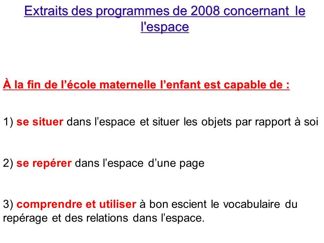 Extraits des programmes de 2008 concernant le l espace