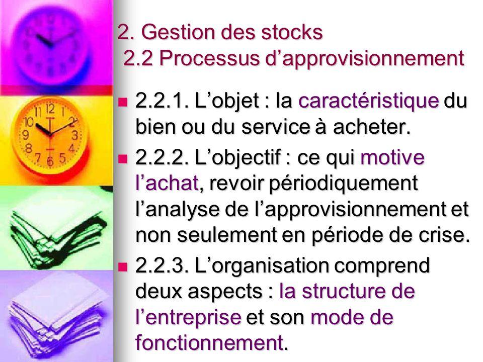 2. Gestion des stocks 2.2 Processus d'approvisionnement
