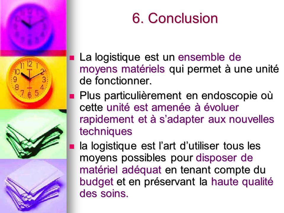 6. Conclusion La logistique est un ensemble de moyens matériels qui permet à une unité de fonctionner.