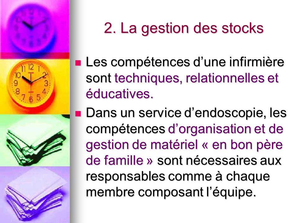 2. La gestion des stocks Les compétences d'une infirmière sont techniques, relationnelles et éducatives.