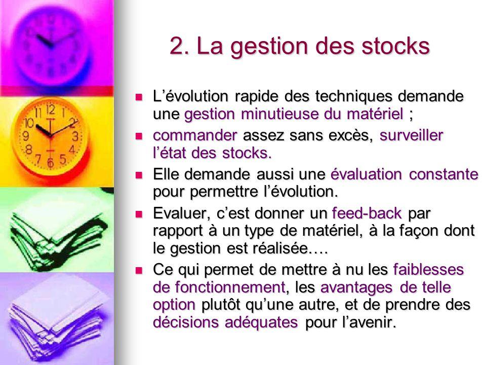 2. La gestion des stocks L'évolution rapide des techniques demande une gestion minutieuse du matériel ;