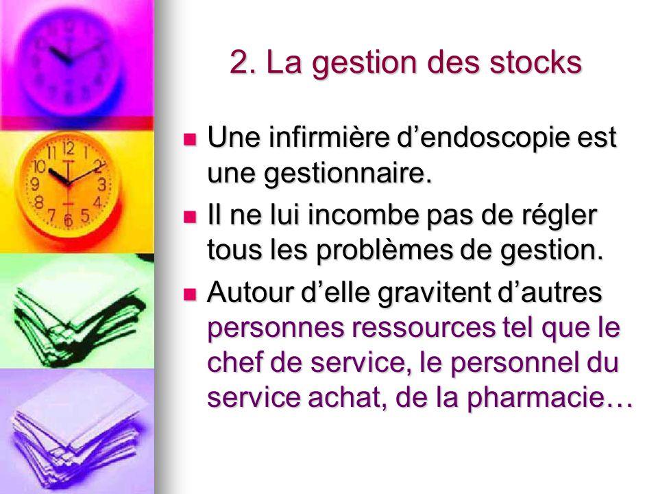 2. La gestion des stocks Une infirmière d'endoscopie est une gestionnaire. Il ne lui incombe pas de régler tous les problèmes de gestion.