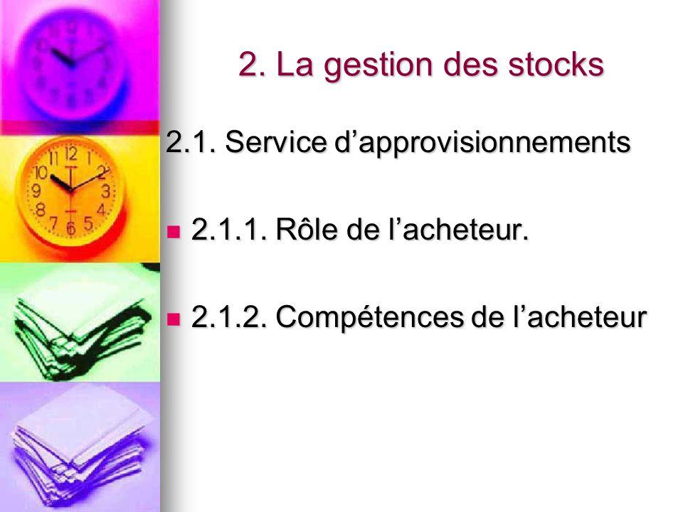 2. La gestion des stocks 2.1. Service d'approvisionnements