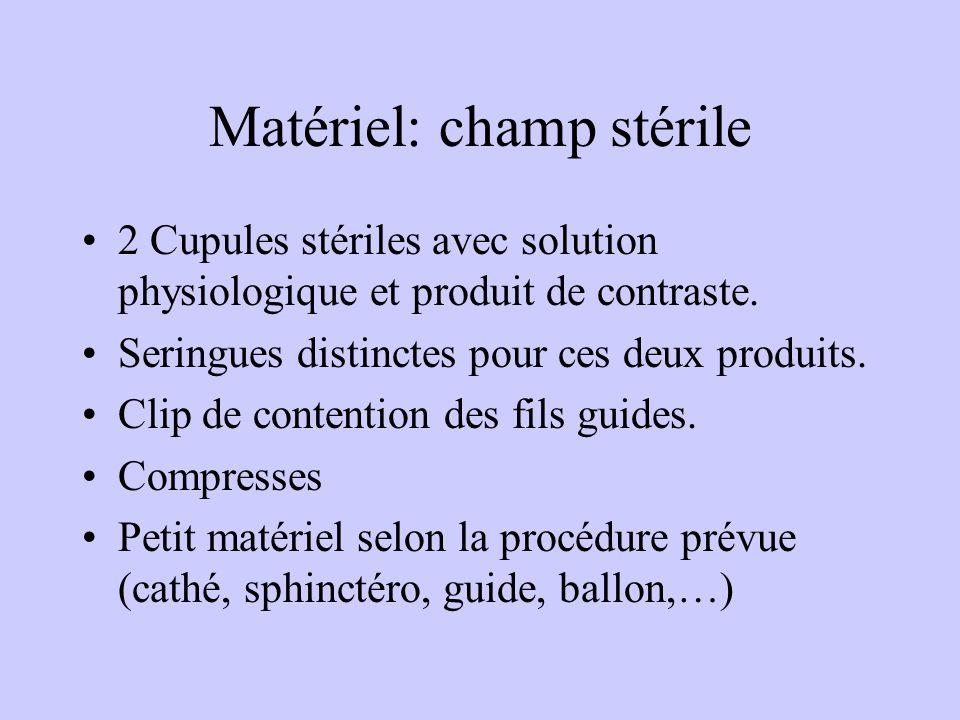 Matériel: champ stérile