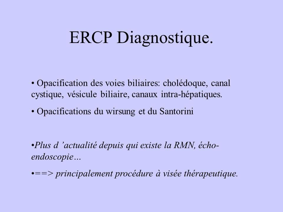 ERCP Diagnostique. Opacification des voies biliaires: cholédoque, canal cystique, vésicule biliaire, canaux intra-hépatiques.