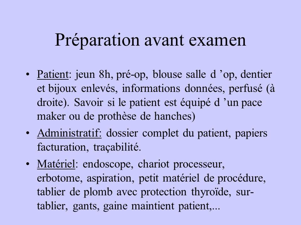 Préparation avant examen