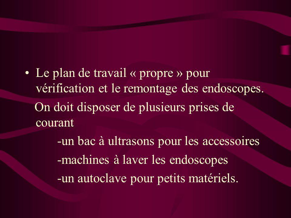 Le plan de travail « propre » pour vérification et le remontage des endoscopes.
