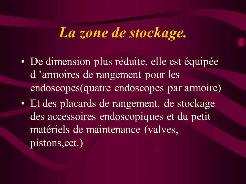 La zone de stockage. De dimension plus réduite, elle est équipée d 'armoires de rangement pour les endoscopes(quatre endoscopes par armoire)
