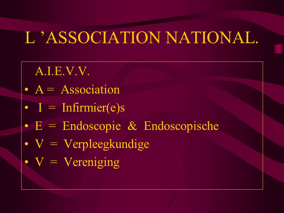 L 'ASSOCIATION NATIONAL.