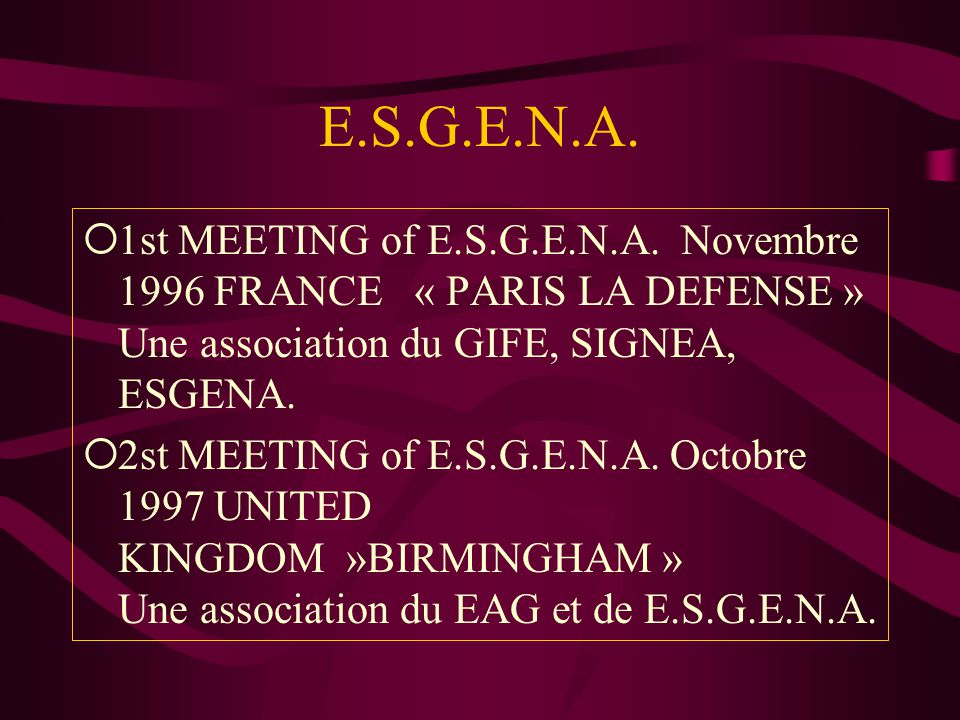E.S.G.E.N.A. 1st MEETING of E.S.G.E.N.A. Novembre 1996 FRANCE « PARIS LA DEFENSE » Une association du GIFE, SIGNEA, ESGENA.
