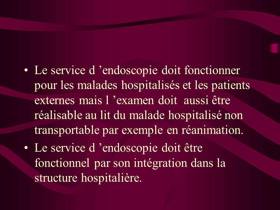 Le service d 'endoscopie doit fonctionner pour les malades hospitalisés et les patients externes mais l 'examen doit aussi être réalisable au lit du malade hospitalisé non transportable par exemple en réanimation.