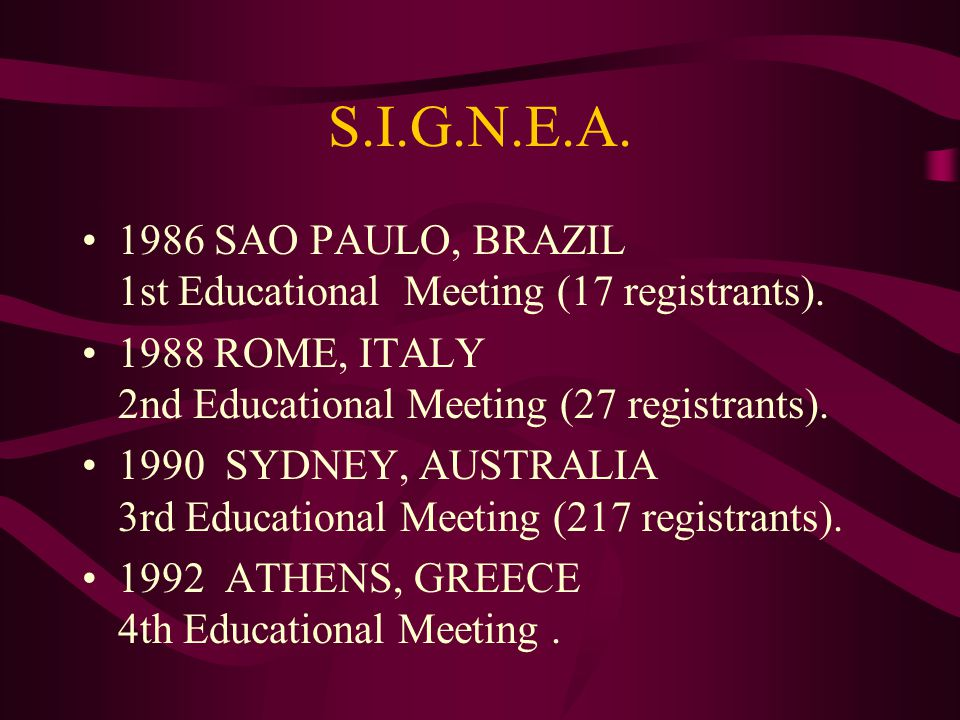 S.I.G.N.E.A. 1986 SAO PAULO, BRAZIL 1st Educational Meeting (17 registrants).