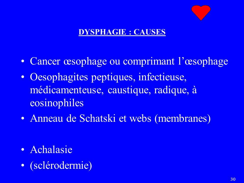 Cancer œsophage ou comprimant l'œsophage