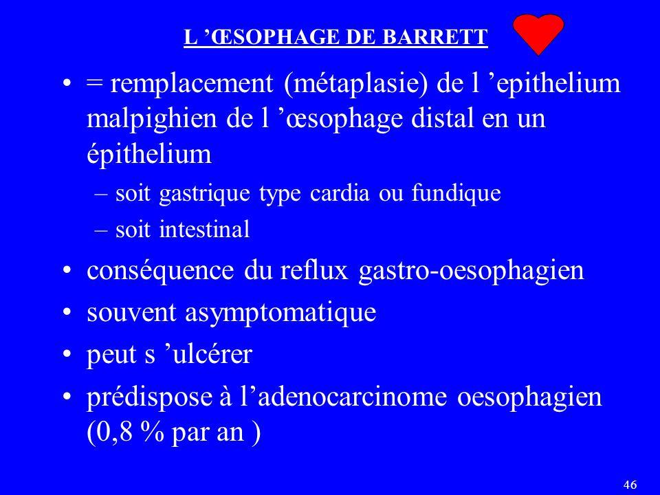 conséquence du reflux gastro-oesophagien souvent asymptomatique