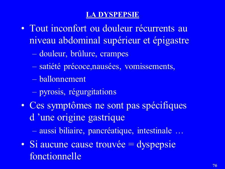 Ces symptômes ne sont pas spécifiques d 'une origine gastrique