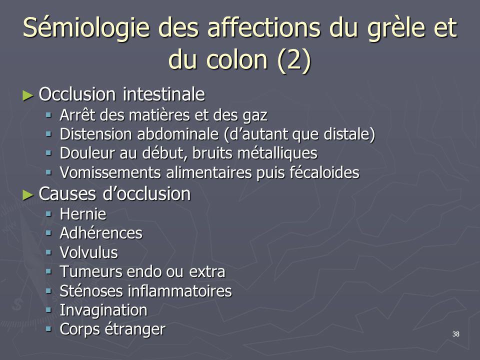 Sémiologie des affections du grèle et du colon (2)