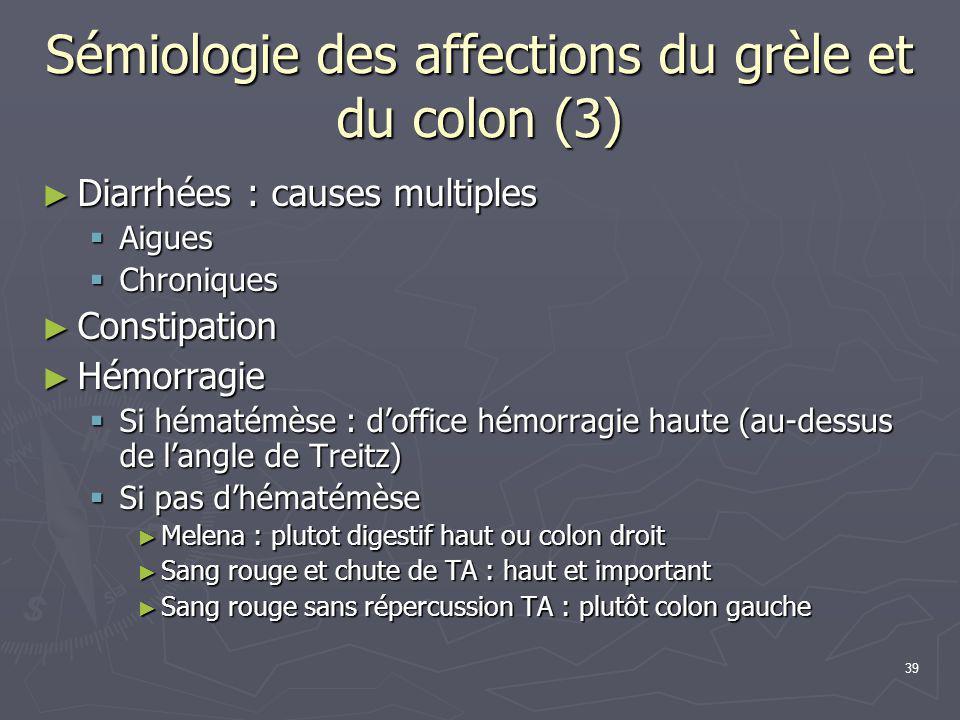 Sémiologie des affections du grèle et du colon (3)