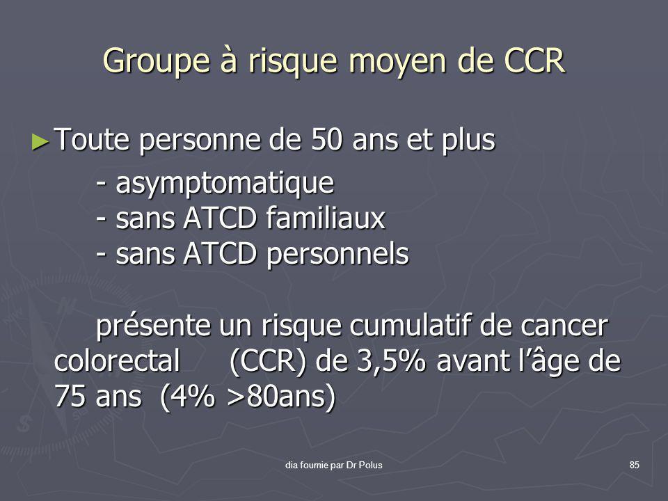 Groupe à risque moyen de CCR