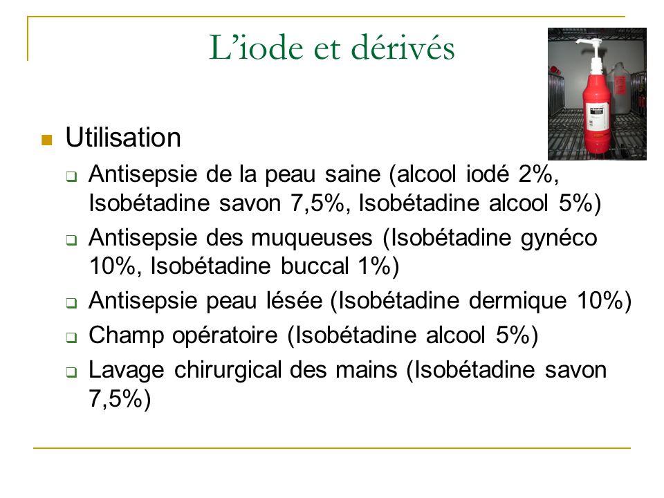 L'iode et dérivés Utilisation