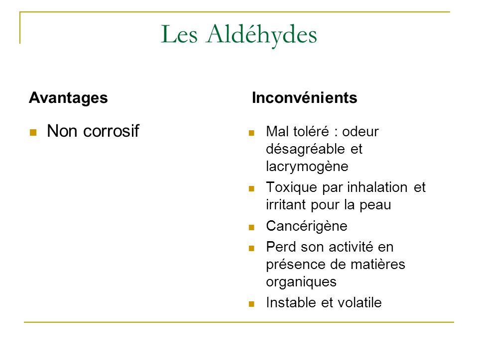 Les Aldéhydes Non corrosif Avantages Inconvénients