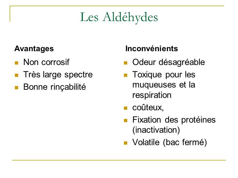 Les Aldéhydes Non corrosif Très large spectre Bonne rinçabilité