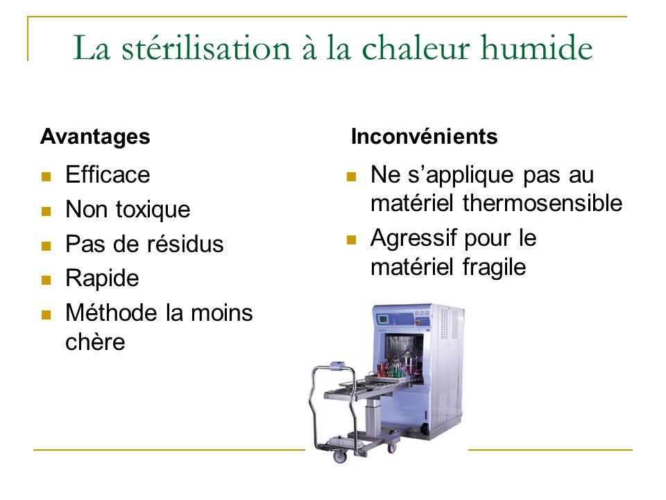 La stérilisation à la chaleur humide