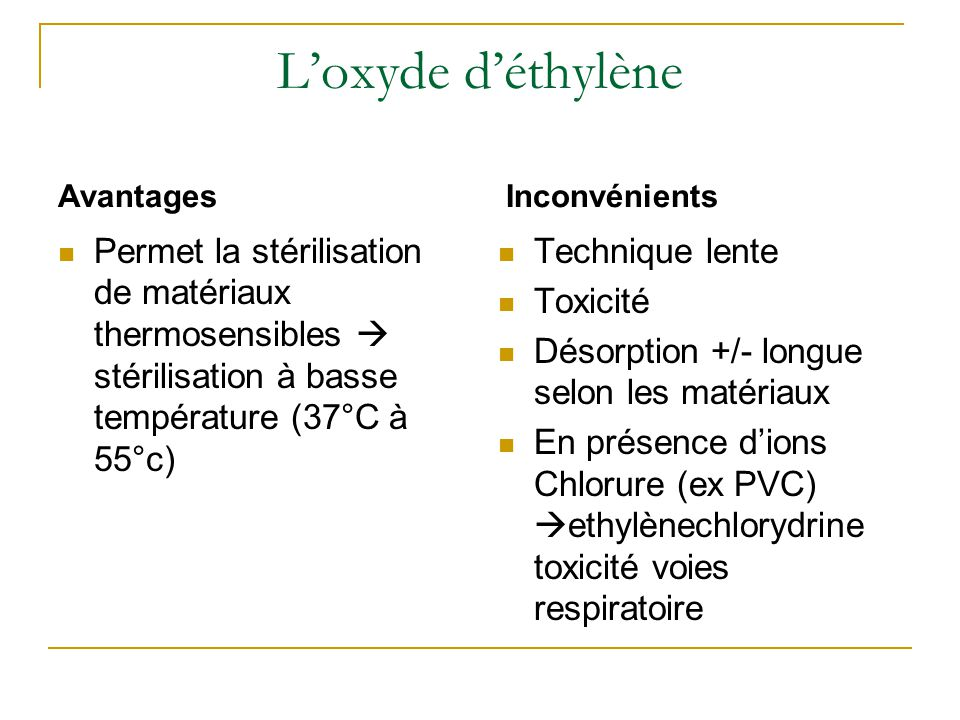 L'oxyde d'éthylène Avantages. Inconvénients. Permet la stérilisation de matériaux thermosensibles  stérilisation à basse température (37°C à 55°c)