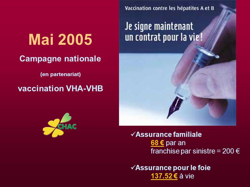 Mai 2005 Campagne nationale (en partenariat) vaccination VHA-VHB