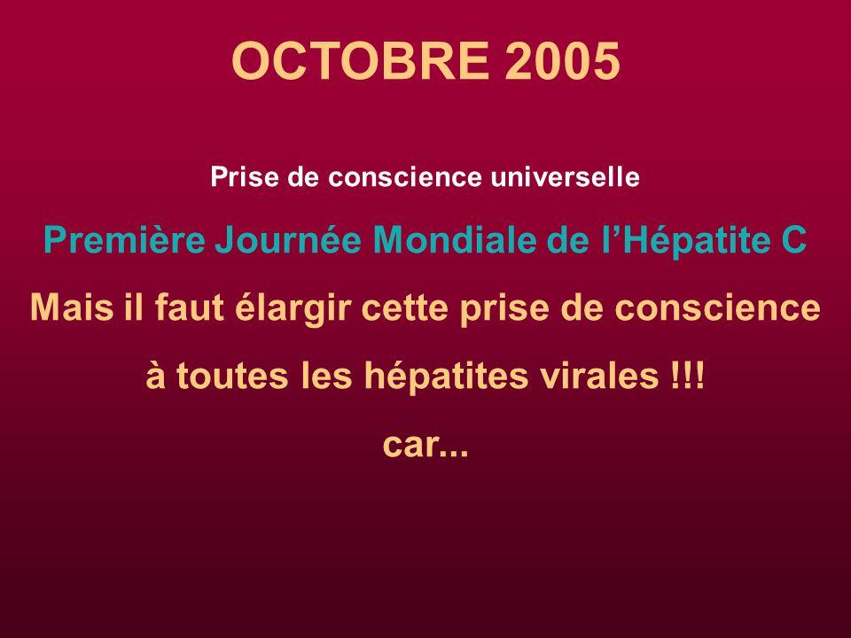 OCTOBRE 2005 Première Journée Mondiale de l'Hépatite C
