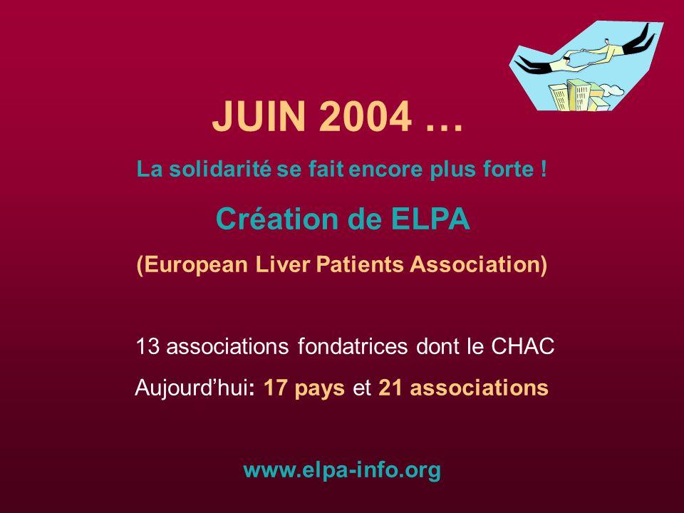 JUIN 2004 … Création de ELPA La solidarité se fait encore plus forte !