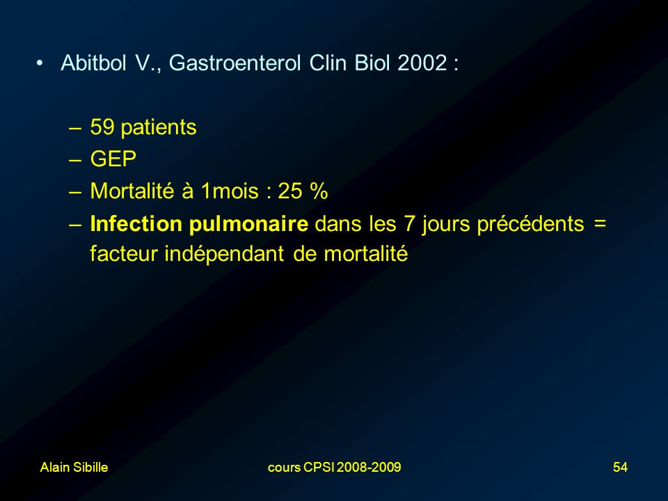 Abitbol V., Gastroenterol Clin Biol 2002 : 59 patients GEP