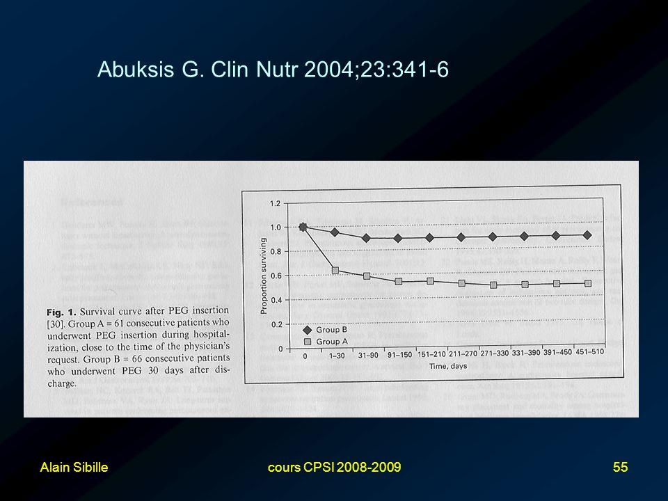 Abuksis G. Clin Nutr 2004;23:341-6 Alain Sibille cours CPSI 2008-2009