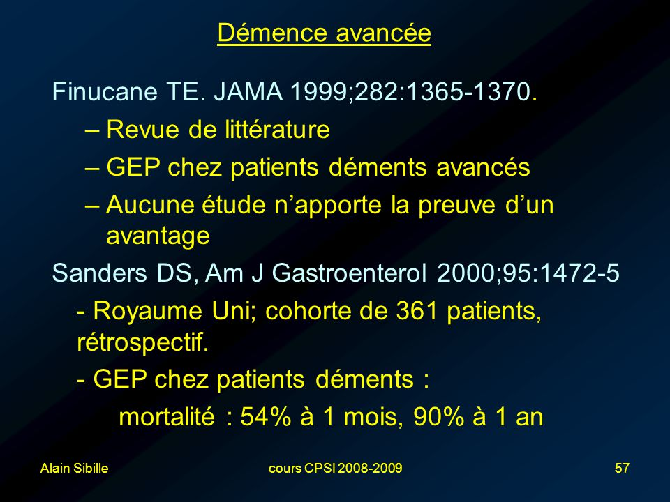 GEP chez patients déments avancés