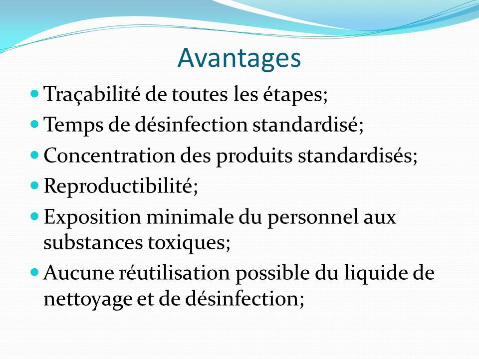 Avantages Traçabilité de toutes les étapes;