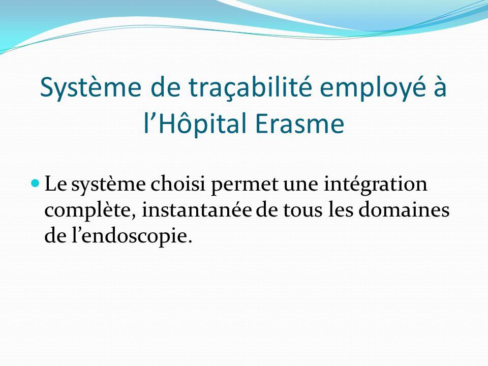 Système de traçabilité employé à l'Hôpital Erasme
