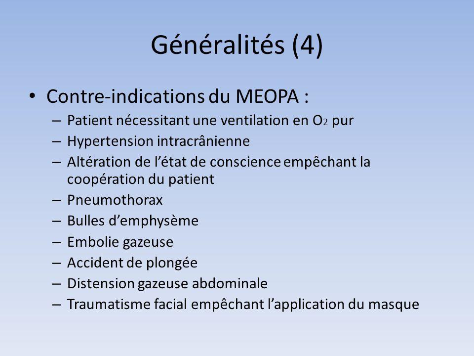 Généralités (4) Contre-indications du MEOPA :