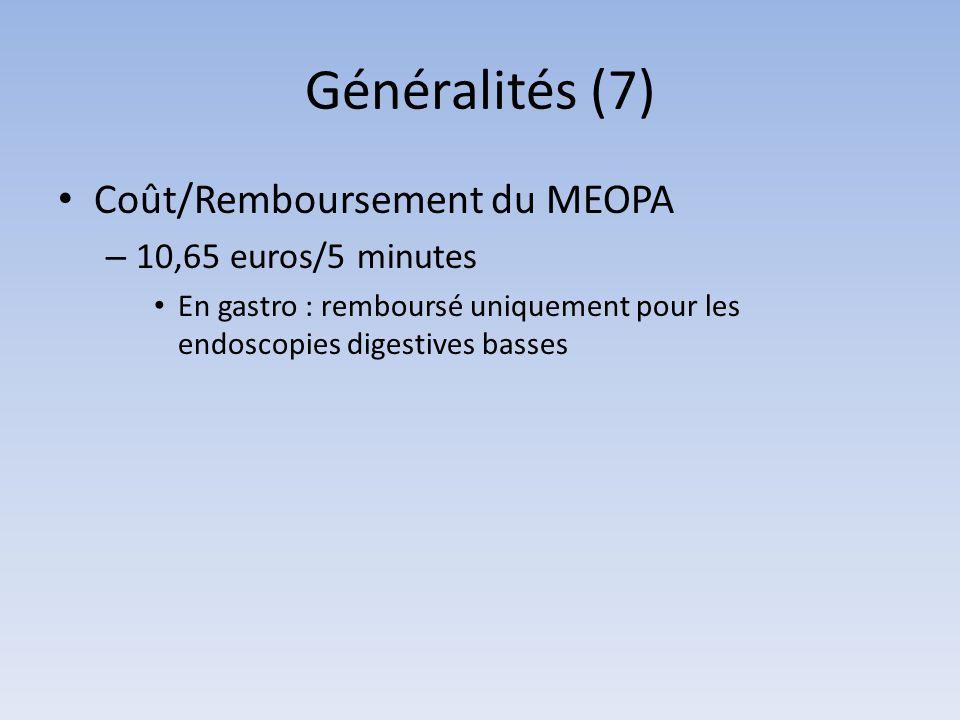Généralités (7) Coût/Remboursement du MEOPA 10,65 euros/5 minutes