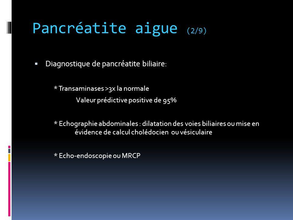 Pancréatite aigue (2/9) Diagnostique de pancréatite biliaire: