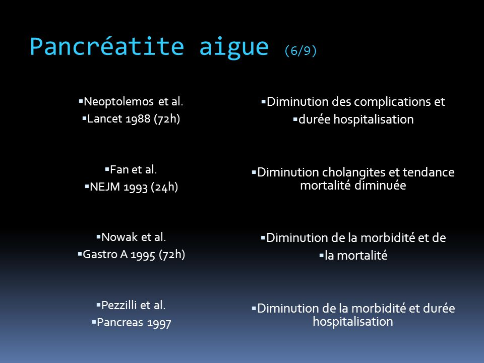 Pancréatite aigue (6/9) Diminution des complications et