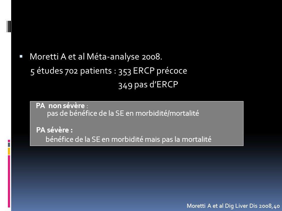 Moretti A et al Méta-analyse 2008.