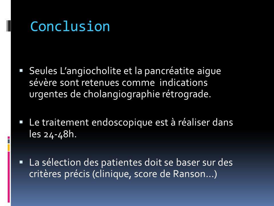 Conclusion Seules L'angiocholite et la pancréatite aigue sévère sont retenues comme indications urgentes de cholangiographie rétrograde.