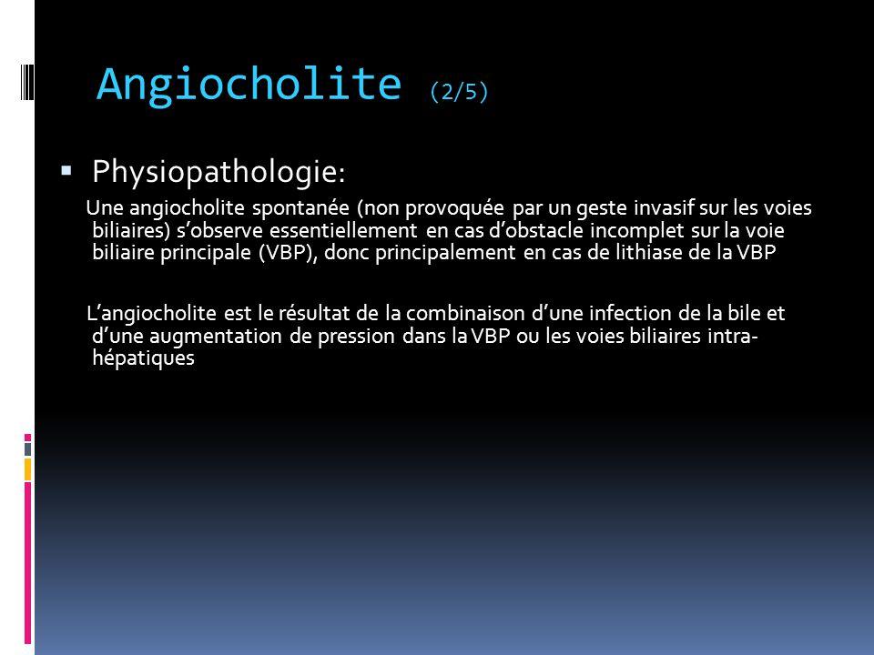 Angiocholite (2/5) Physiopathologie: