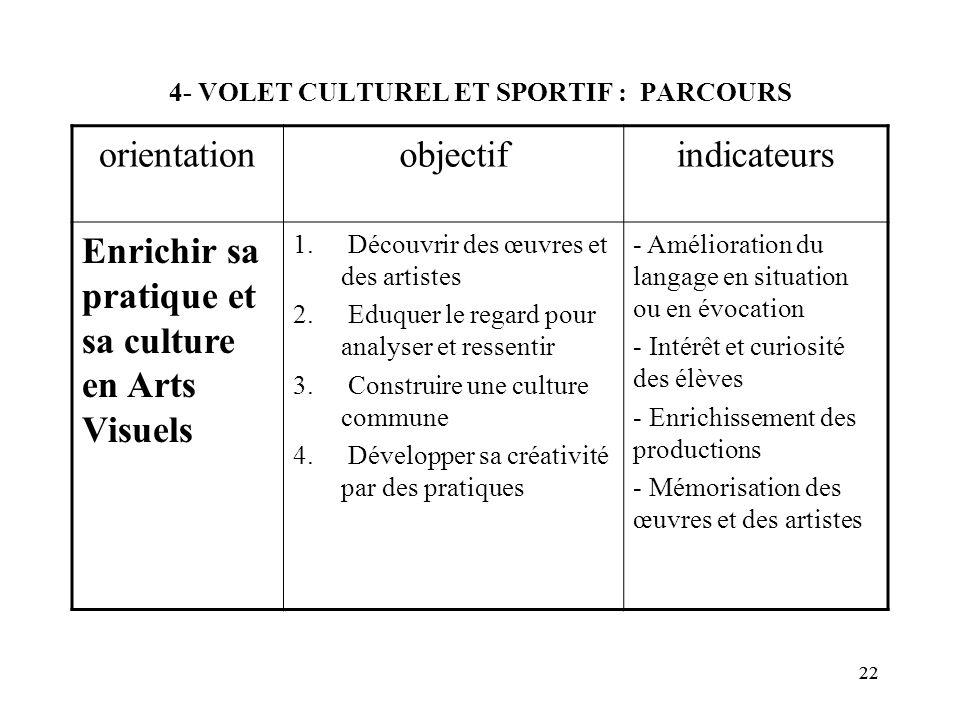 4- VOLET CULTUREL ET SPORTIF : PARCOURS
